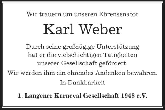 LKG trauert um Karl Weber
