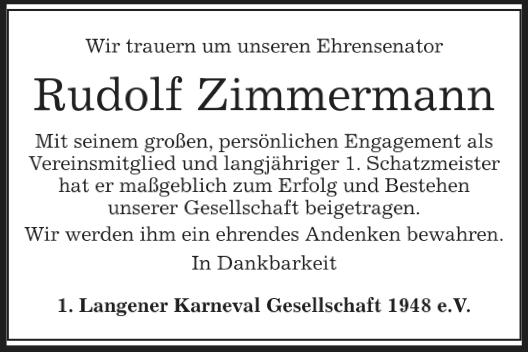 Wir trauern um Rudolf Zimmermann