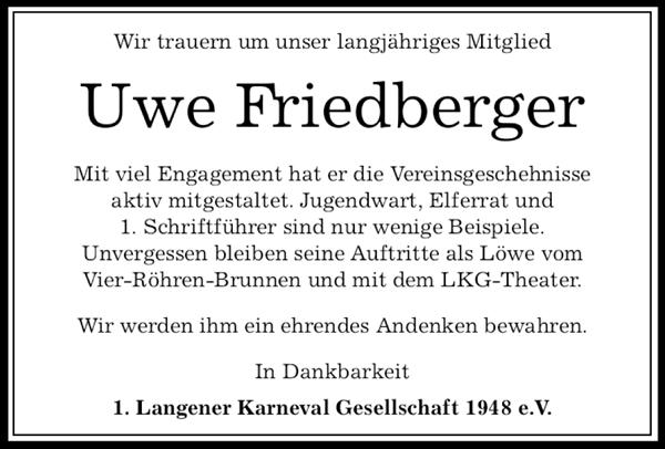 Wir trauern um unser Mitglied Uwe Friedberger